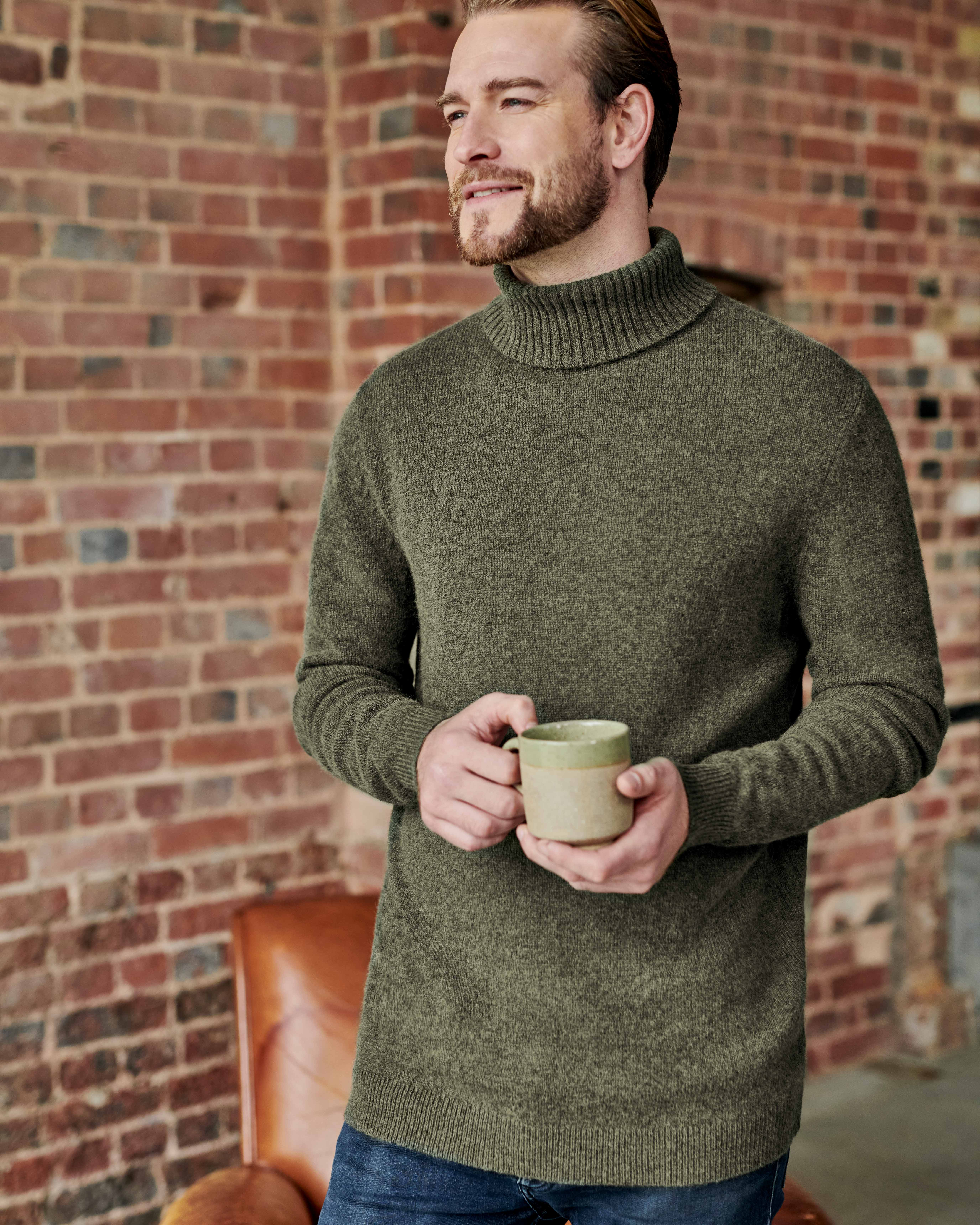 Pure Lambswool Knitted Polo Neck Jumper