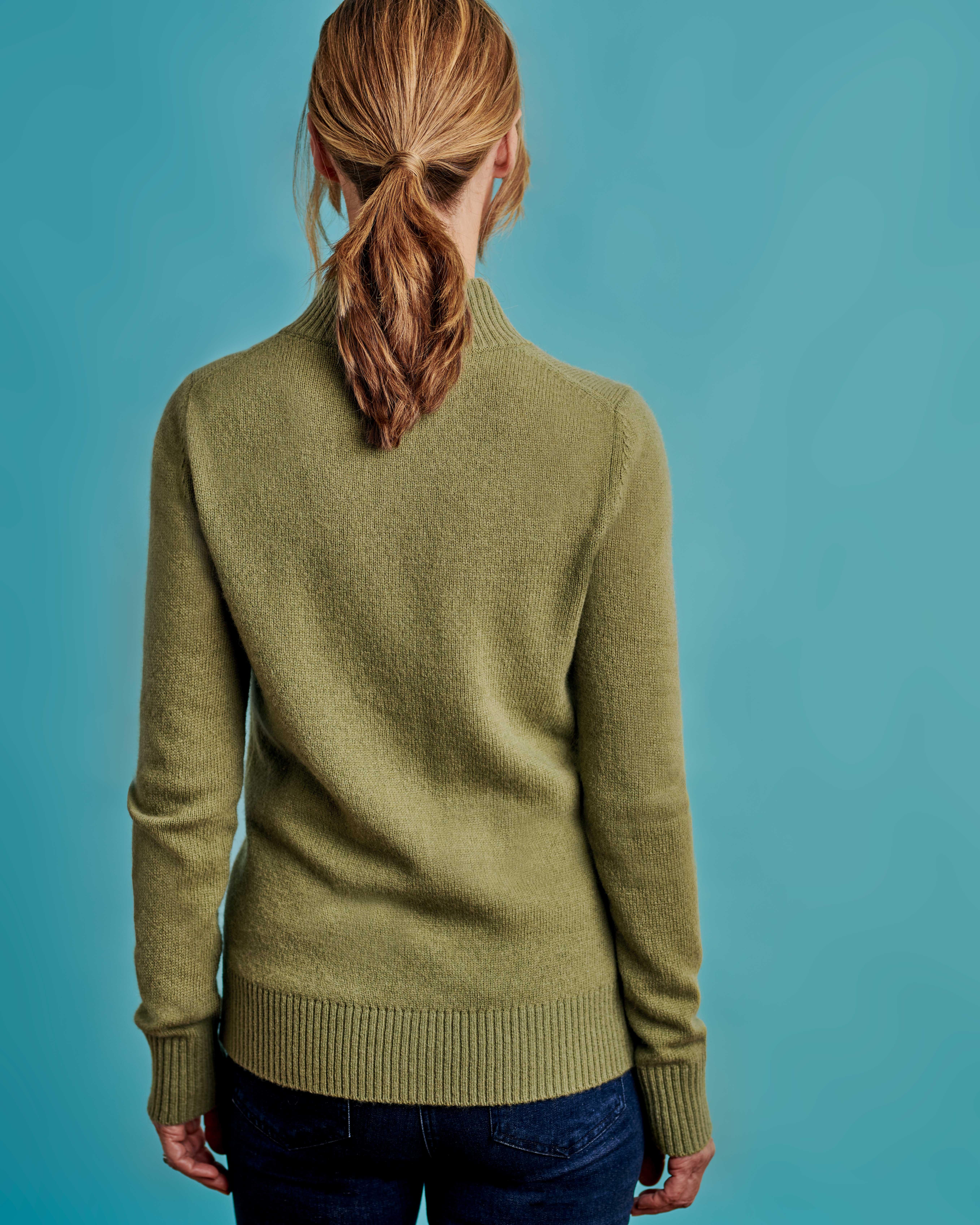 Figurbetonte Strickjacke mit Reißverschluss aus Lammwolle für Damen