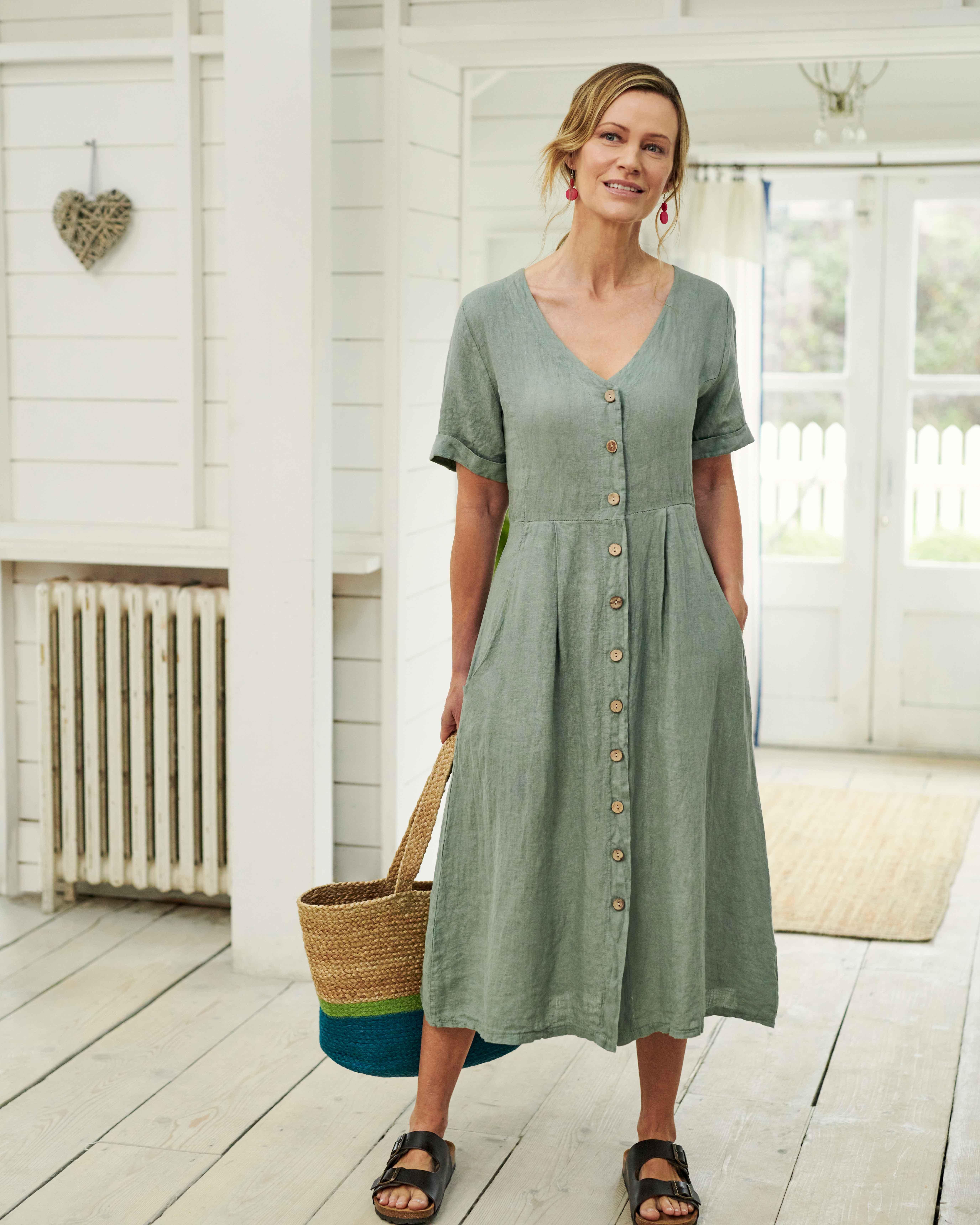 Button Through Linen Dress