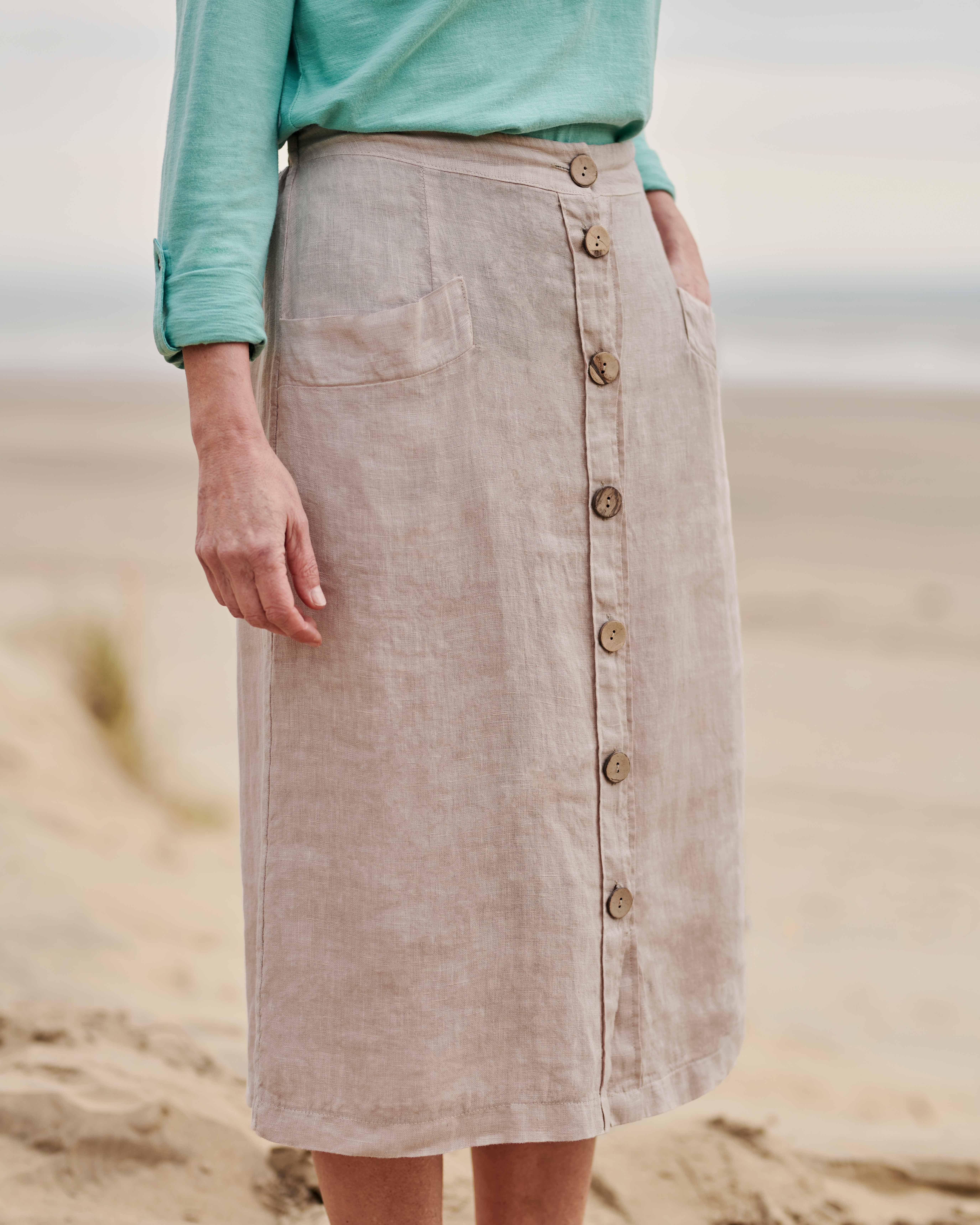 Linen Button Through Skirt