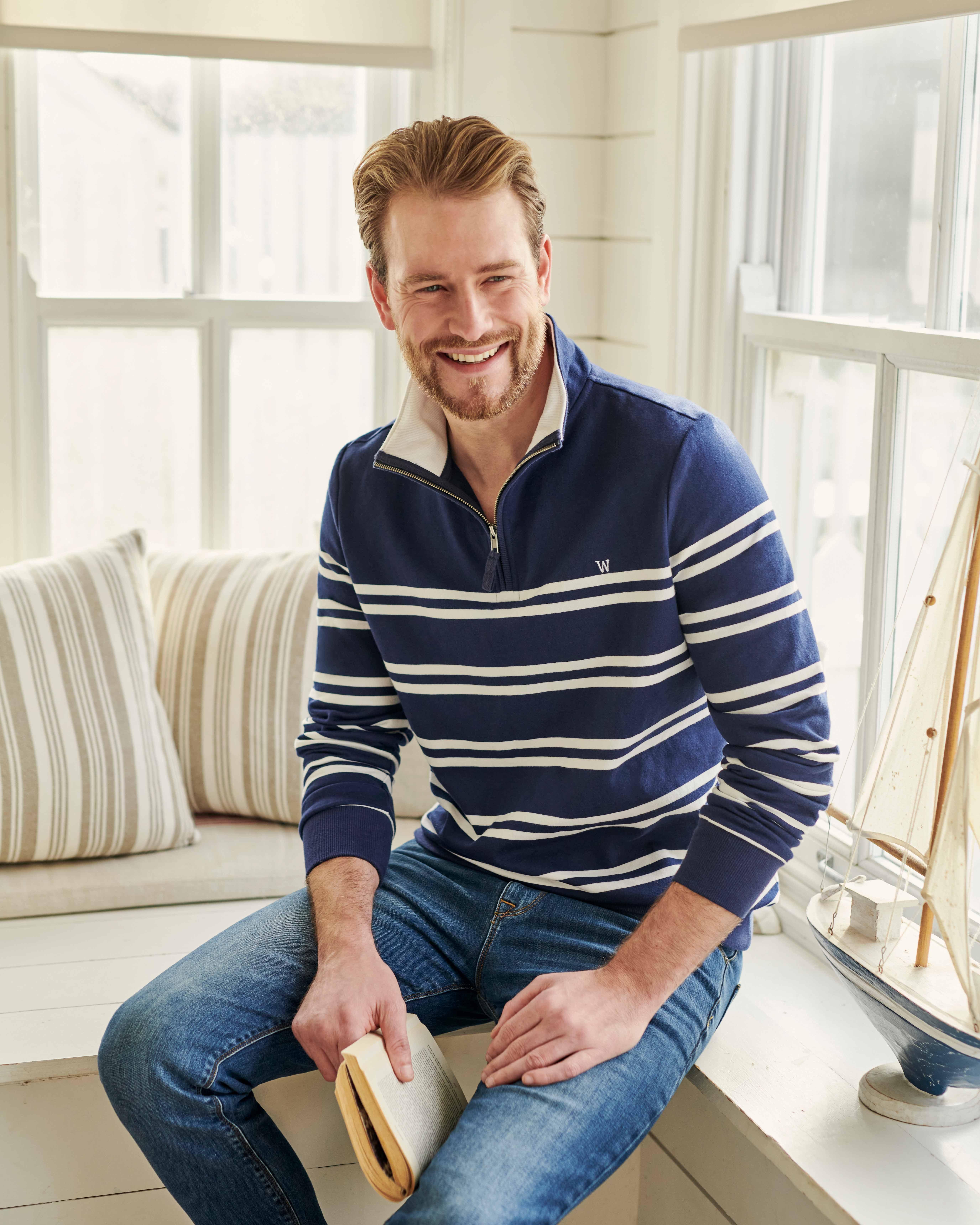Sweat-shirt à col zippé - Homme - Coton bio