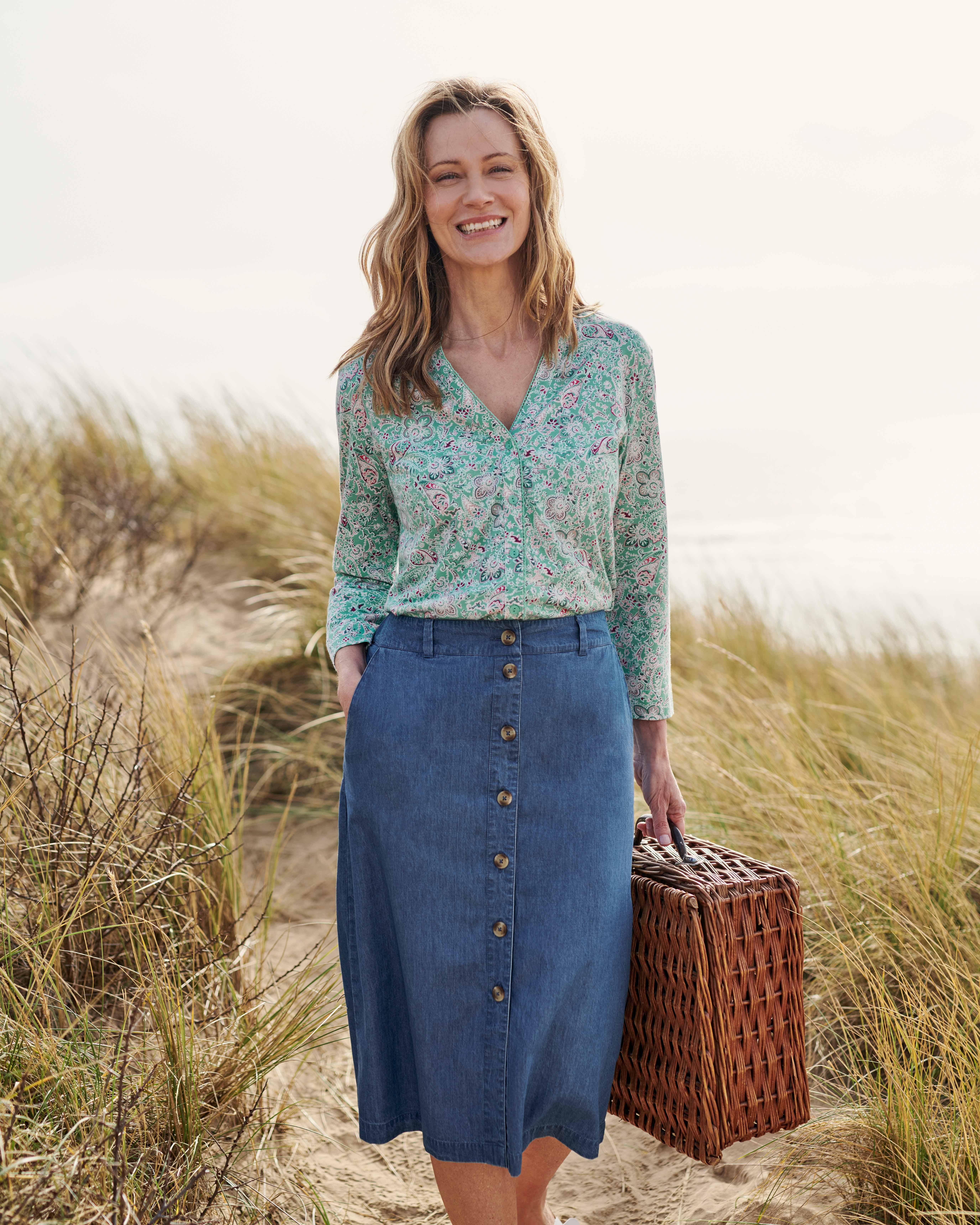 Chambray Button Through Skirt