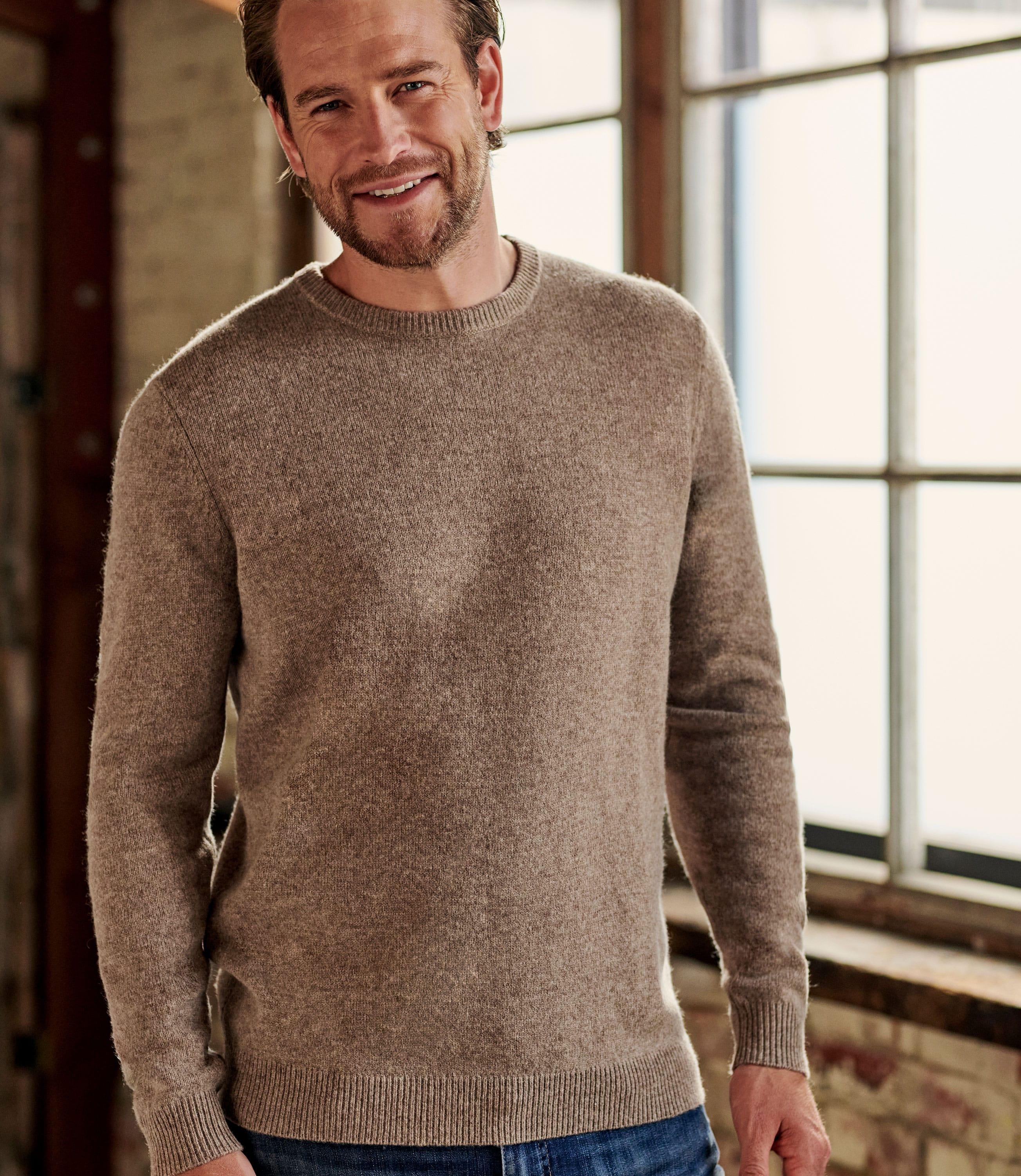 Pullover mit Rundhalsausschnitt aus Lammwolle für Herren