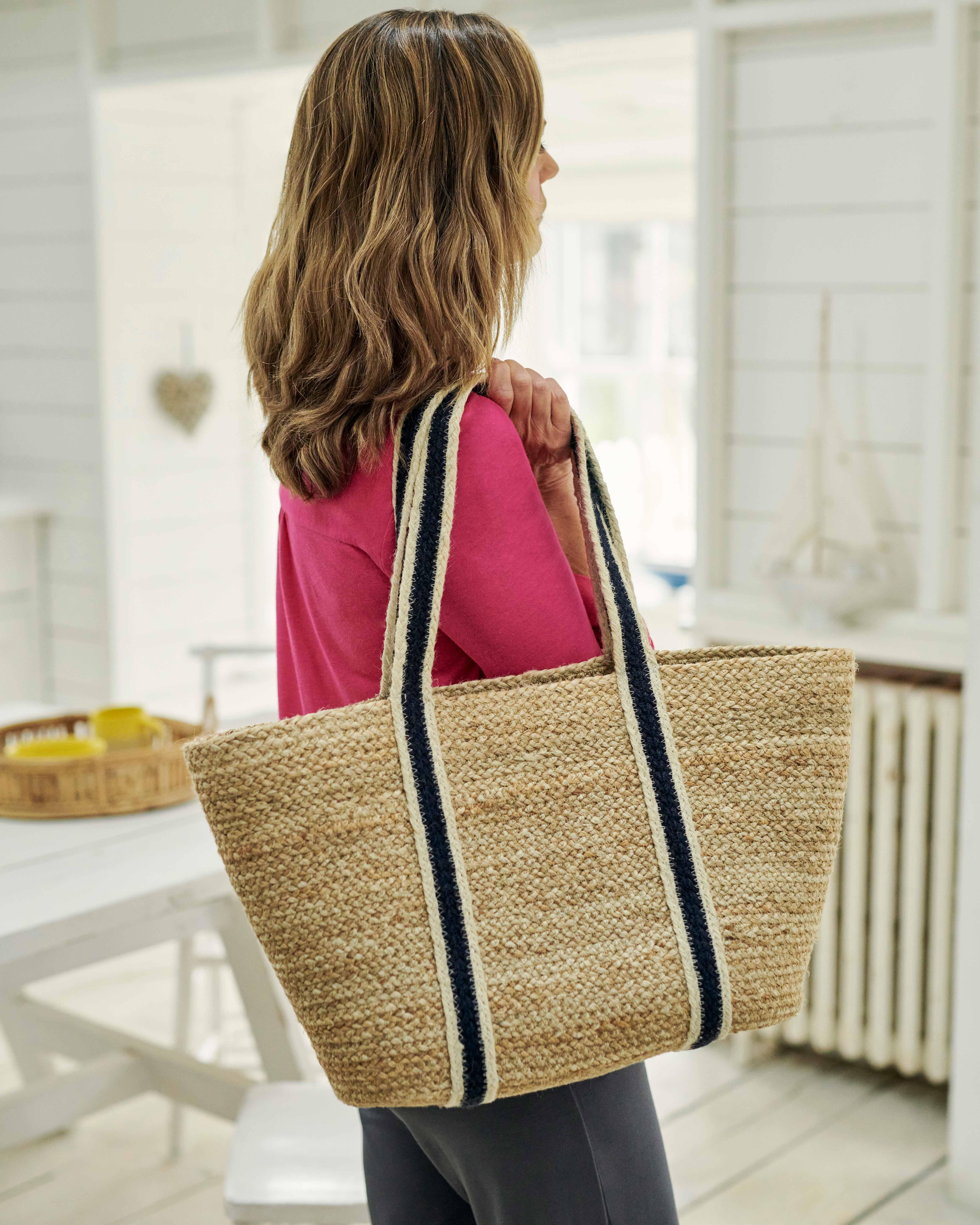 Long Handle Jute Tote Bag