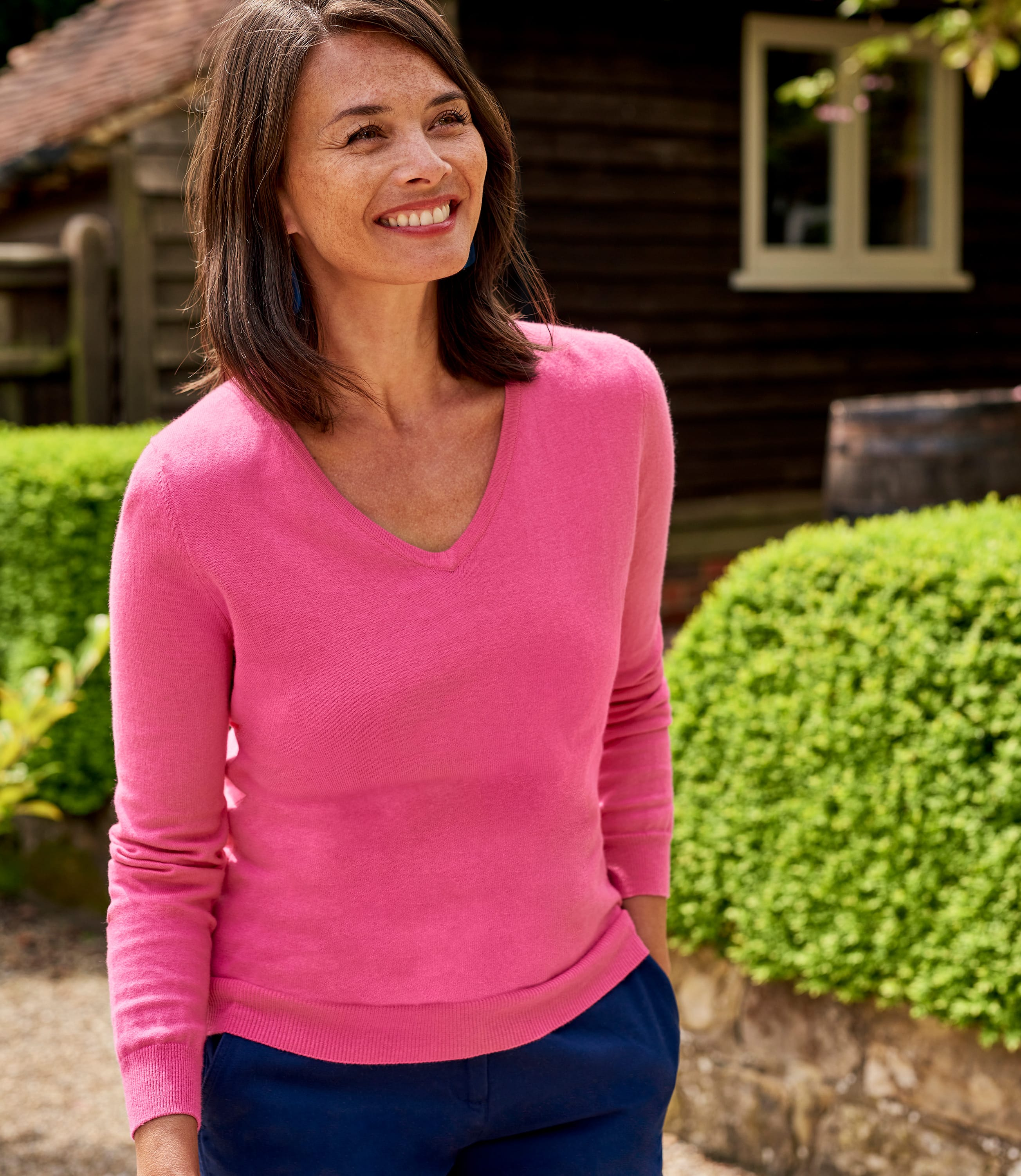 Cashmere & Cotton V Neck Jumper