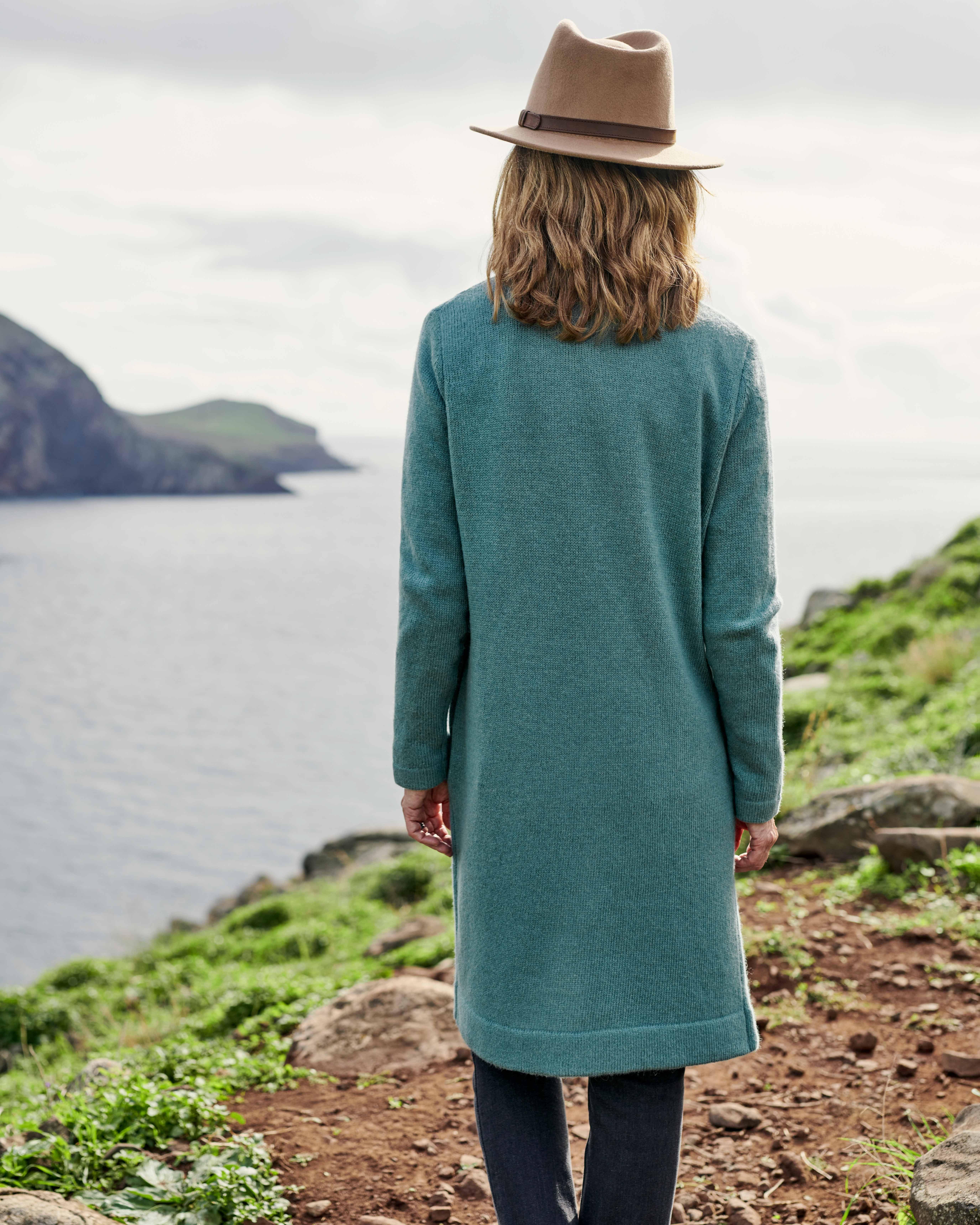 Langer Coatigan aus Lammwolle für Damen