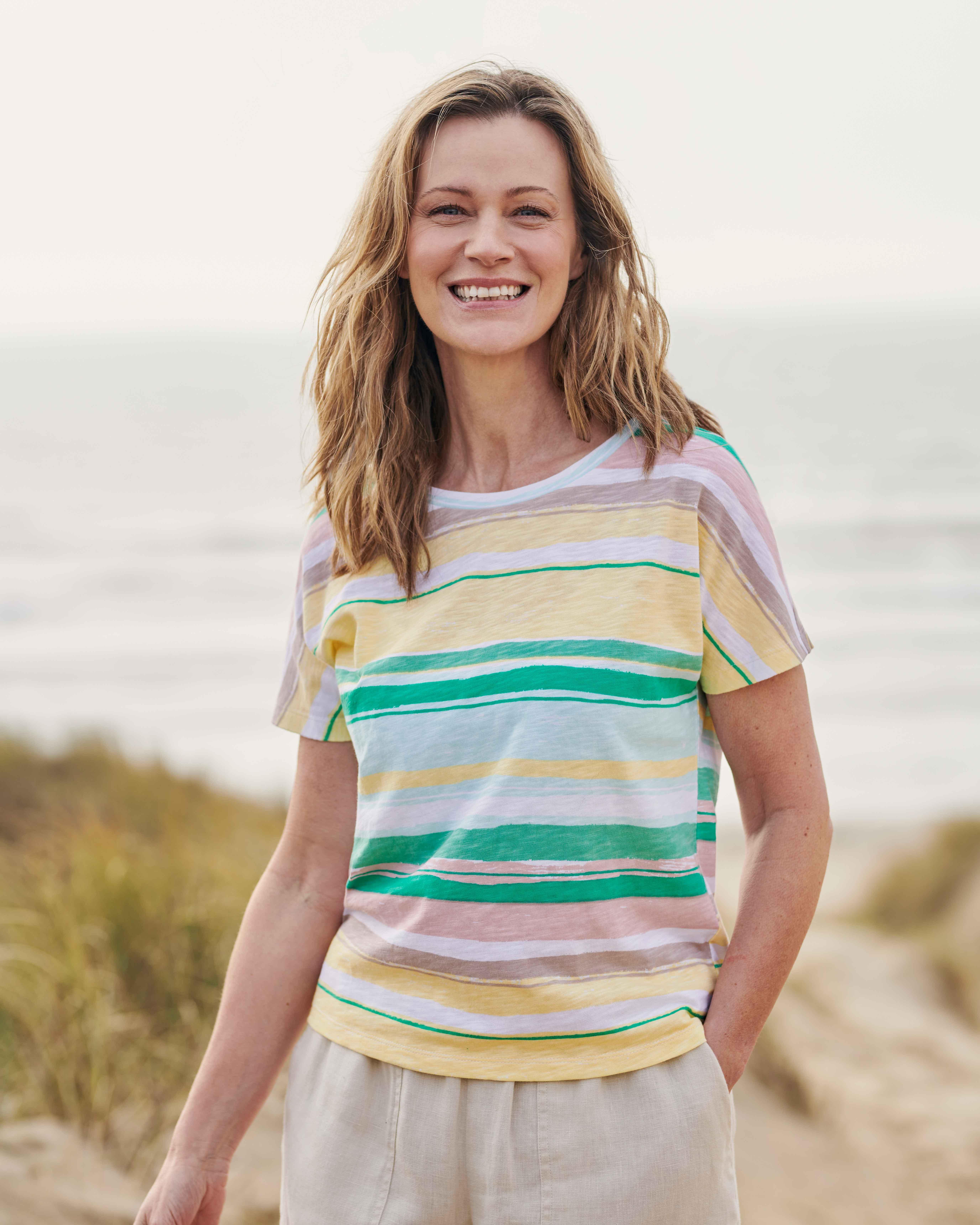 T-shirt à rayures peintes - Femme - Jersey