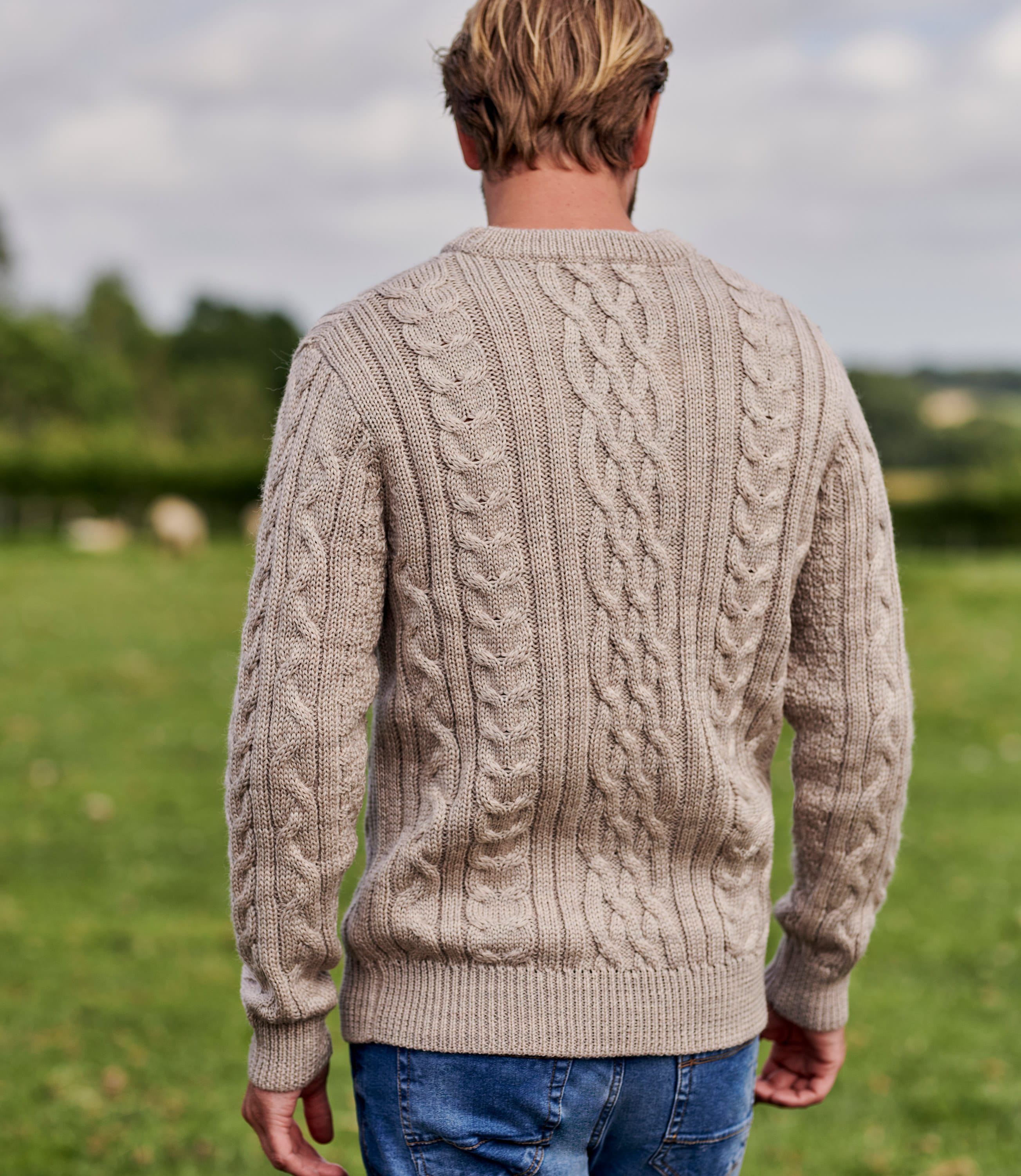Mens Pure Wool Aran Knitted Sweater