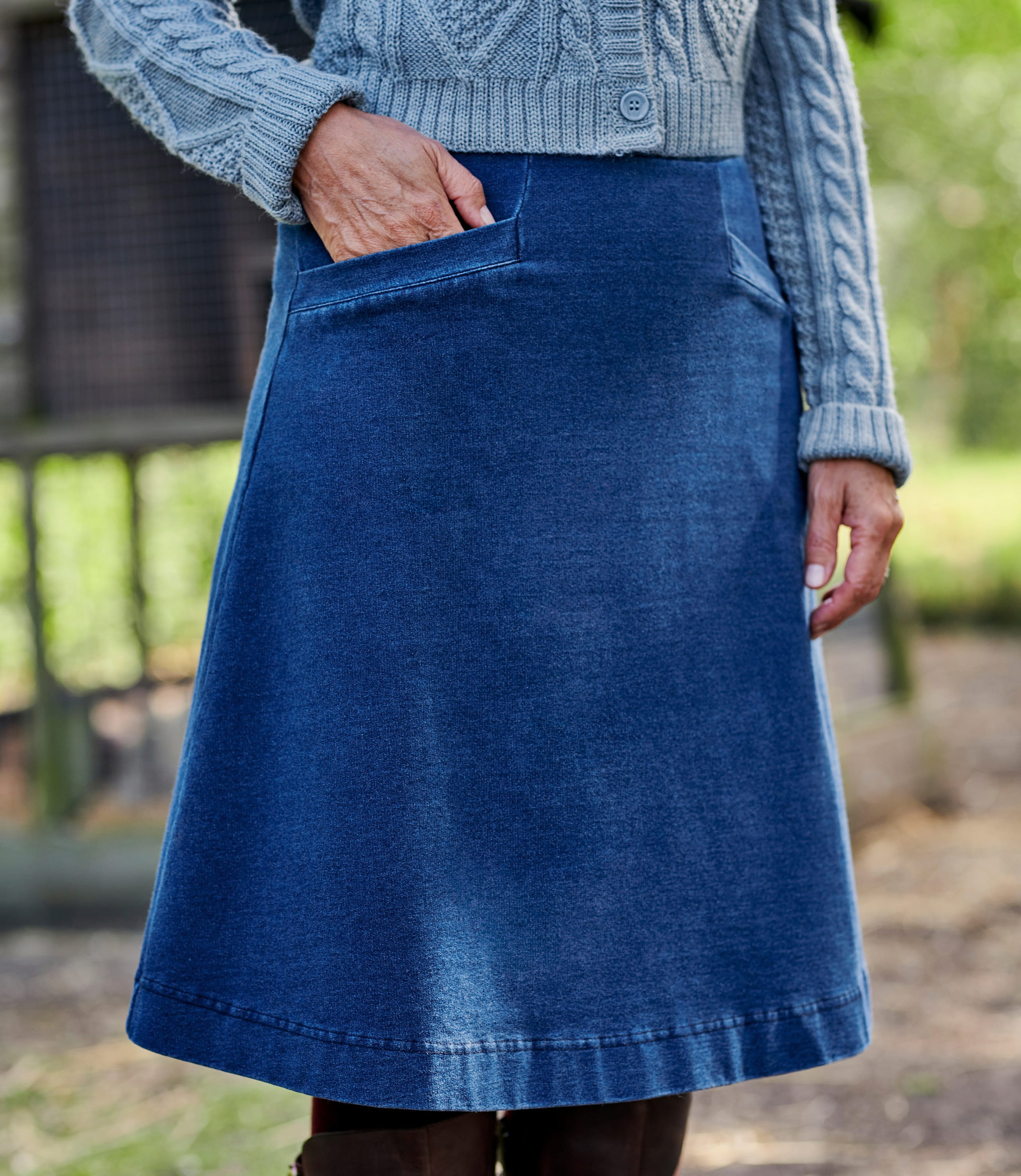 Womens Jersey A Line Pocket Detail Skirt