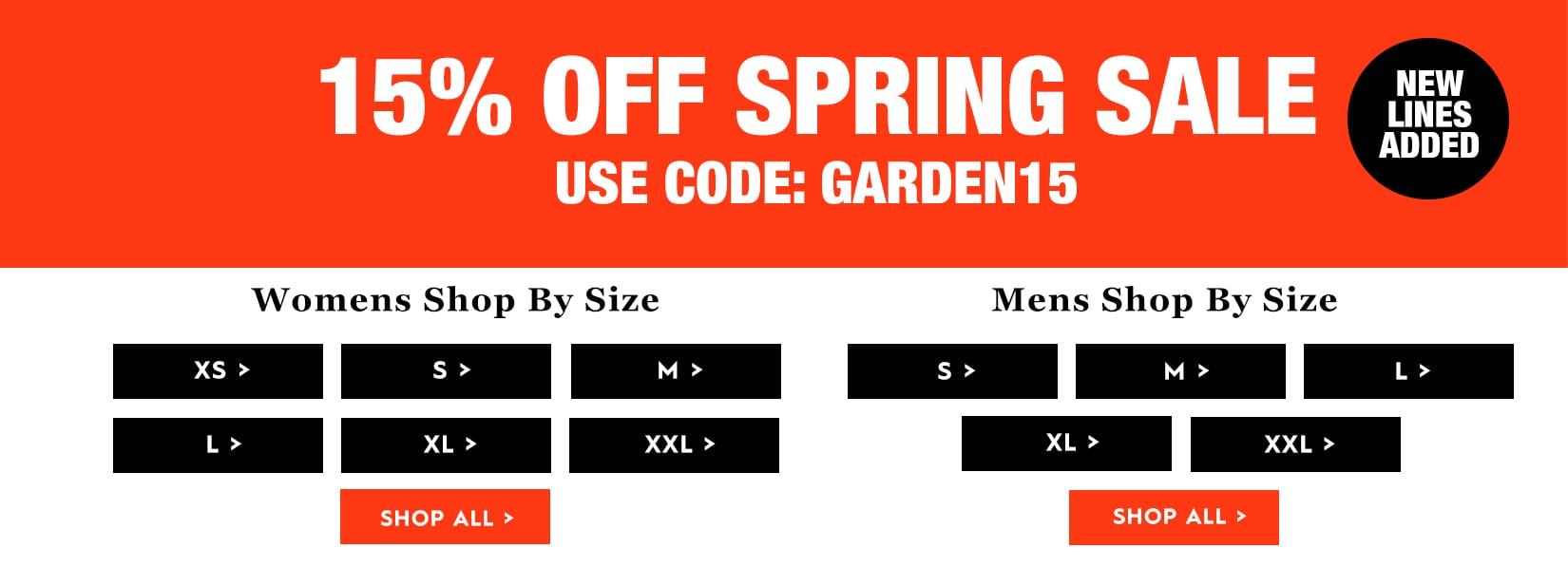Spring Sale extra 15% off